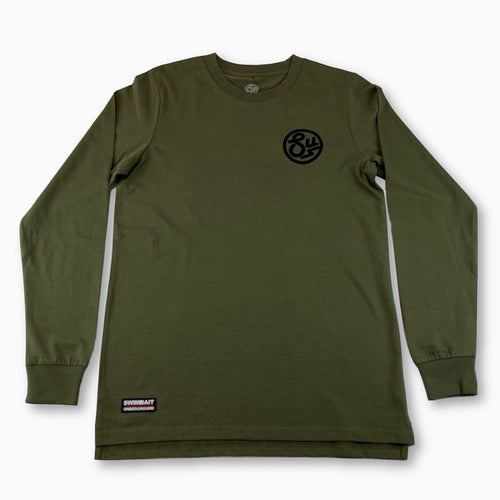 Swimbait Underground Circle SU Embroidered Long Sleeve Tee - Army Green