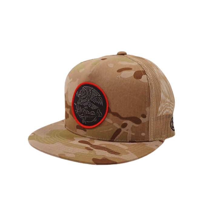 Swimbait Underground X Trophy Coat of Arms Mesh Snapback - Arid Multicam/Tan