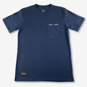 Swimbait Underground Unstacked Initials Embroidered Pocket Tee - Navy Blue