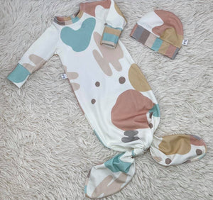 Rainbow Splatter Tie Newborn Gown