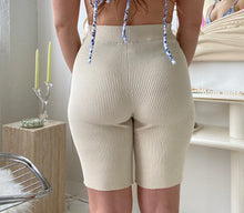 Ribbed biker shorts in a sand colour