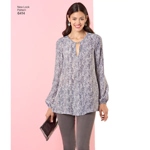 Symønster New Look 6414 - Bluse Top Tunika - Dame | Billede 1
