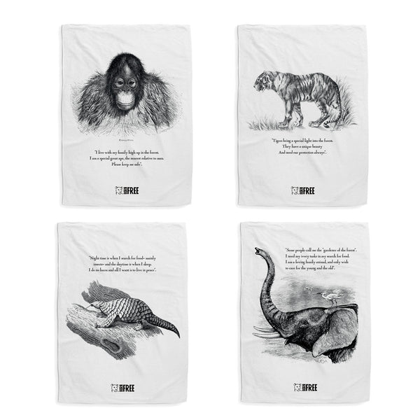 Animal tea towels