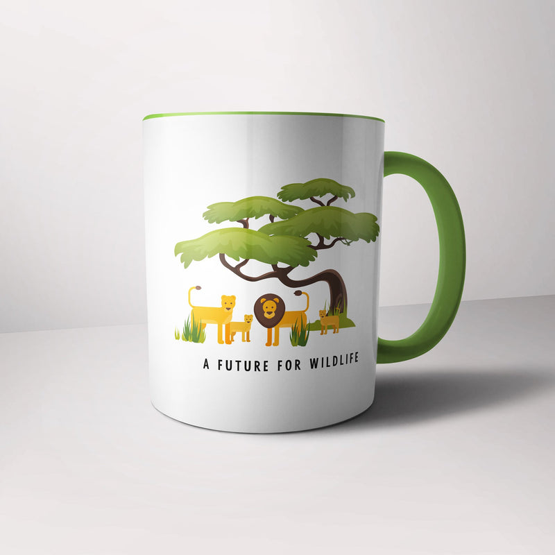 'A Future for Wildlife' lion family mug