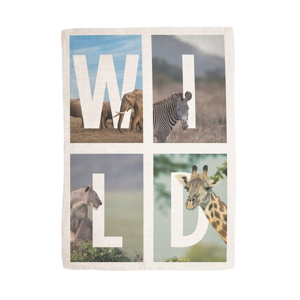 'WILD' tea towel