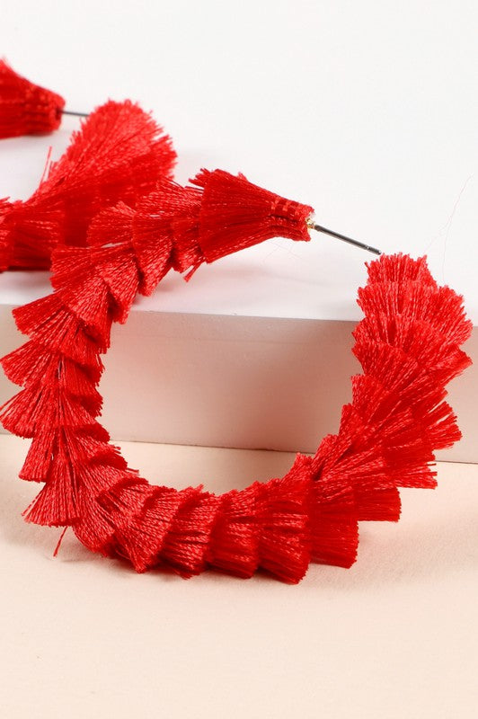 Tassel Open-Hoop Earrings (Red)