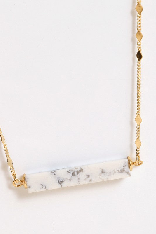 Natural Stone Bar Pendant Necklace (Marble)