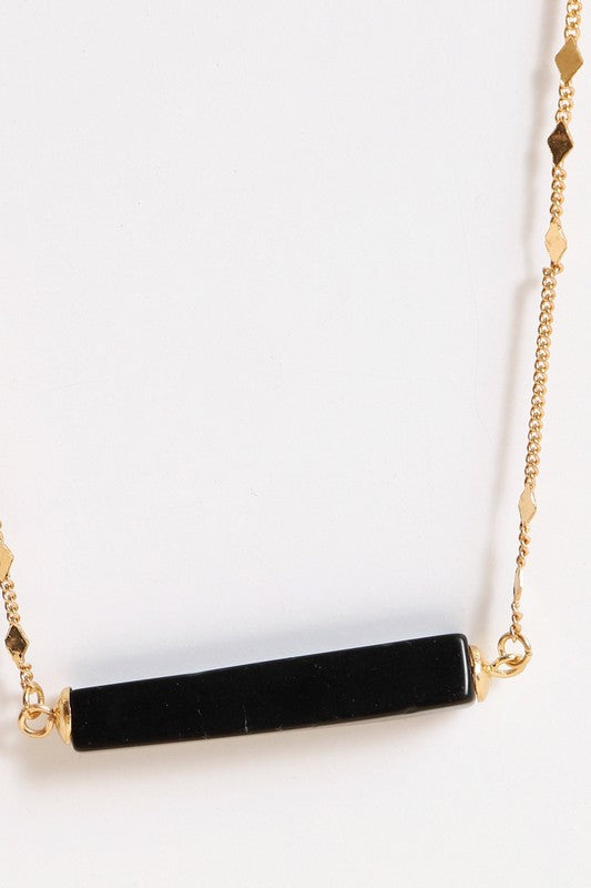 Natural Stone Bar Pendant Necklace (Black)
