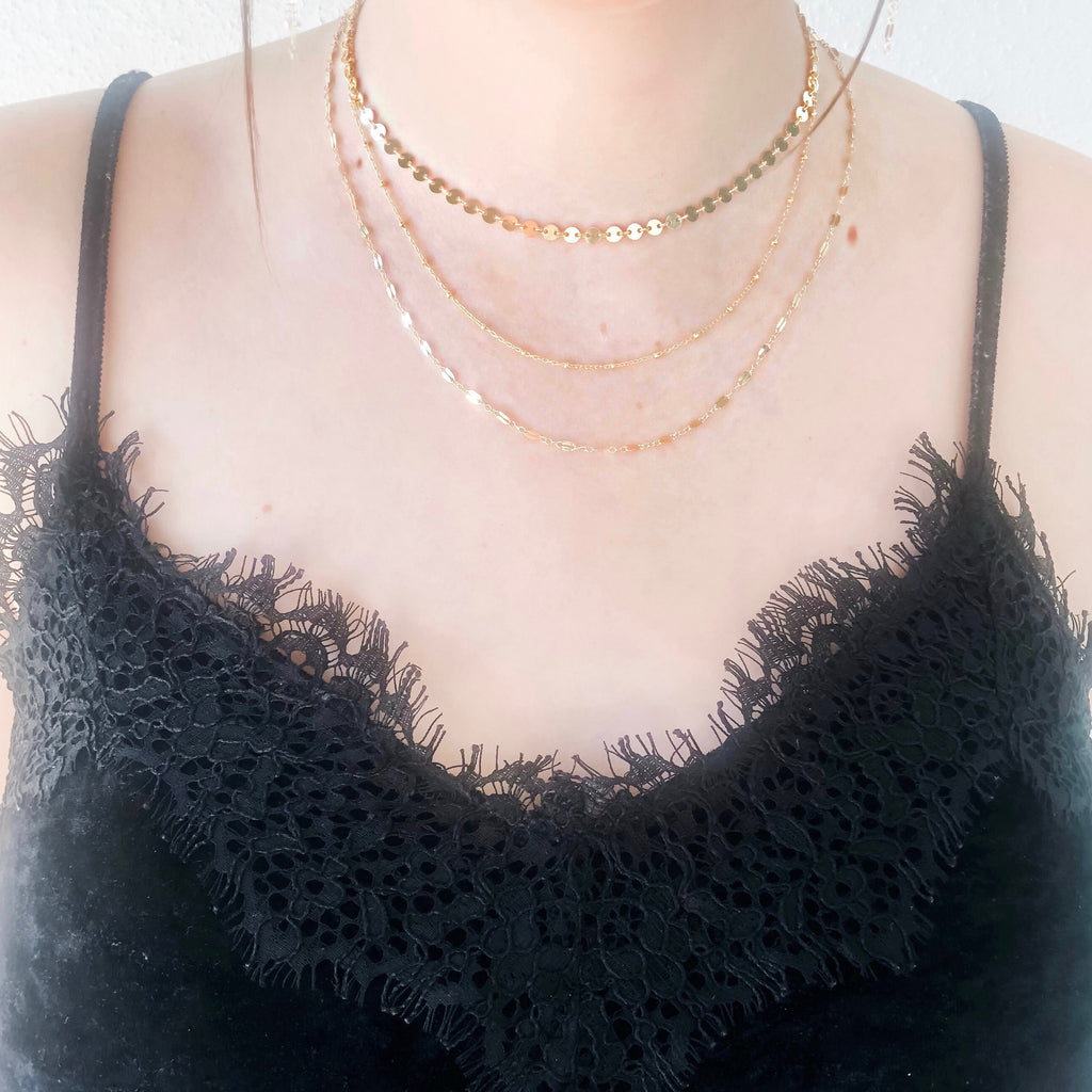 "Gold Filled Bead Chain Necklace (16"")"