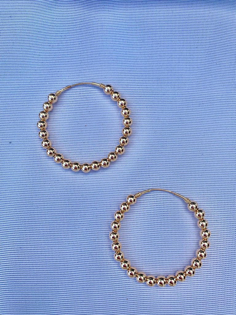 Gold Filled Bead Hoop Earring