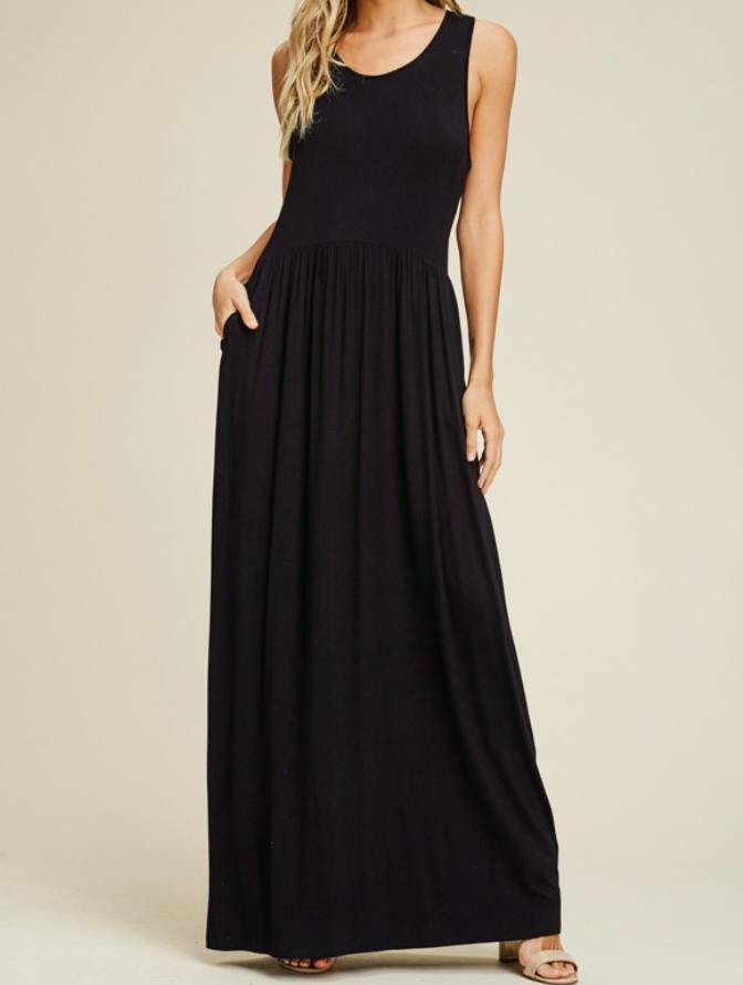 Sleeveless Pleated Waist Maxi Tank Dress