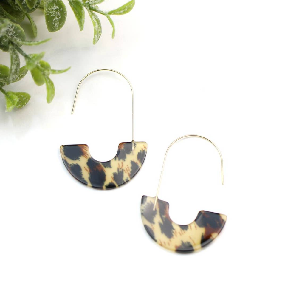 Luna Light Tortoise & Half Moon Earrings