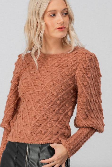 Pom Pom Sweater (Brick)