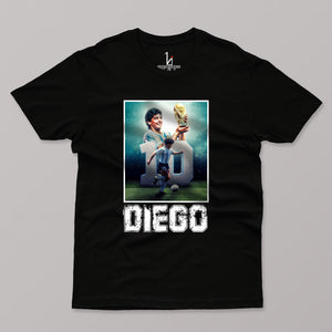 Diego Maradona Half Sleeves Black T-shirt