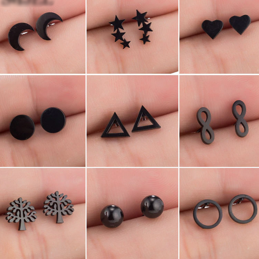 Stud Earrings Stainless Steel Kpop style - SD-style-shop