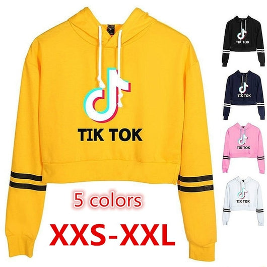 TikTok Short Hoodie - Tik Tok cropped Sweater with stripes - SD-style-shop