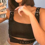 Black hollow out buckle Crop Top - SD-style-shop