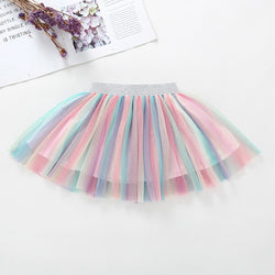 Rainbow Tutu Skirt with silver waistband - SD-style-shop