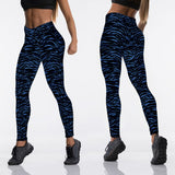 High Waist Fitness leggings - black and blue zebra print - SD-style-shop
