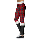 Santa pants - christmas leggings, plaid - SD-style-shop