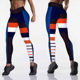 High Waist Fitness leggings - blue and orange - SD-style-shop