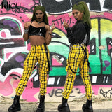 Yellow plaid pants women with straps - SD-style-shop