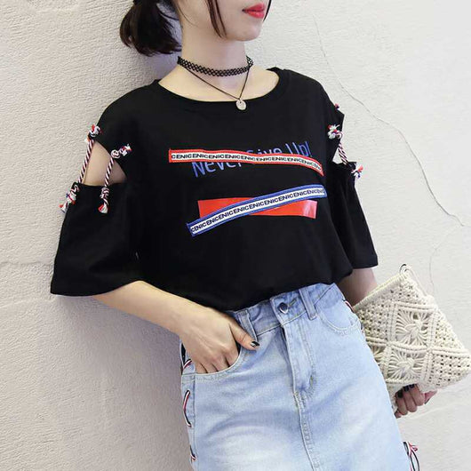 Harajuku Hollow Out Print Tshirt - SD-style-shop