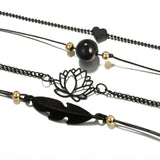 Four Black Bracelets -Lotus-Love - SD-style-shop
