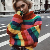 Chunky knitted sweater with rainbow stripes and a turtleneck. - SD-style-shop