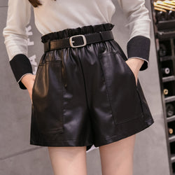 Korean style PU Leather Shorts High Waist - SD-style-shop