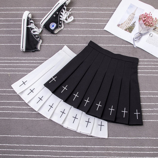 Pleated Skirt Women Harajuku with Cross Embroidery - SD-style-shop