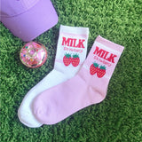Strawberry Milk Pink and White Women Socks - SD-style-shop