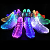 Black Glowing Optic Fiber LED Shoes - SD-style-shop