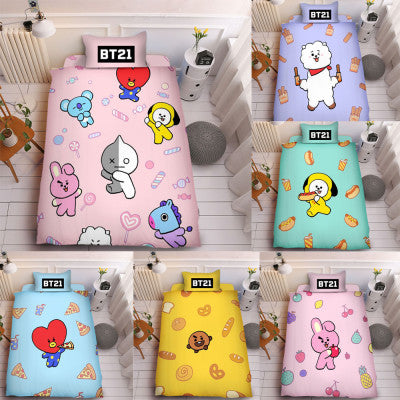 BT21  3Pc/Set Bedding Bed sheet cover - SD-style-shop