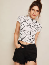 Geometrical Print Cropped tshirt - SD-style-shop