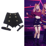 High Waist Shorts with bands kpop style - SD-style-shop
