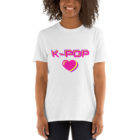 Kpop heart tshirt fluor, Kpop tee with heart, Short-Sleeve Unisex T-Shirt - SD-style-shop