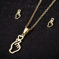 FIngerheart necklace + Earrings - SD-style-shop