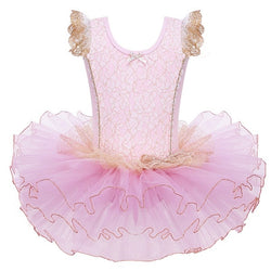Pink and Gold Ballet leotard with tutu - SD-style-shop