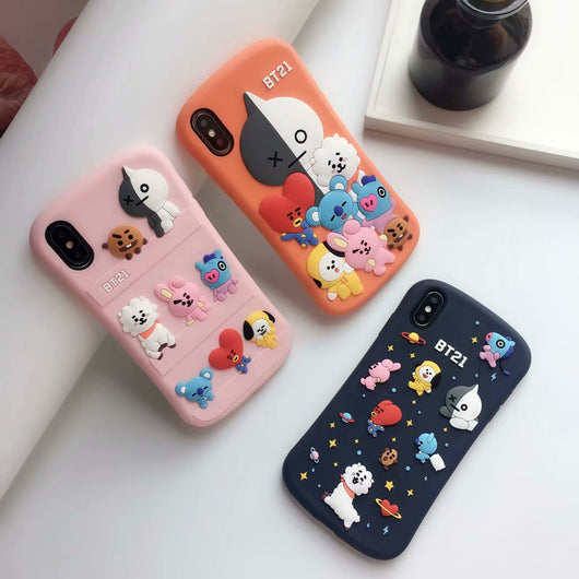 BT21 3D soft silicone iphone case - SD-style-shop