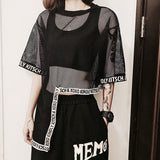 Asymnetrical Harajuku mesh shirt - SD-style-shop