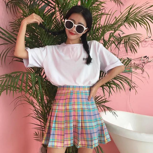 Rainbow Plaid Skirt - SD-style-shop