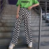 Checkered Black and White Casual Loose Pants