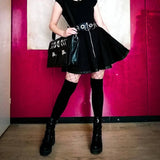 Punk Zip Up Black Skirt with Rings - SD-style-shop