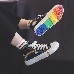 Woman Sneakers Rainbow Retro Canvas Shoes - SD-style-shop