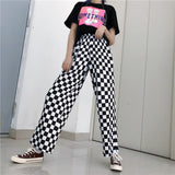 Checkered Black and White Casual Loose Pants - SD-style-shop