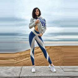 Blue & White High Waist Fitness Leggings - SD-style-shop