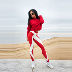 Red and White High Waist Fitness Leggings - SD-style-shop