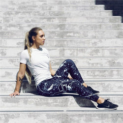 Black & White Paint splatter Fitness Leggings - SD-style-shop