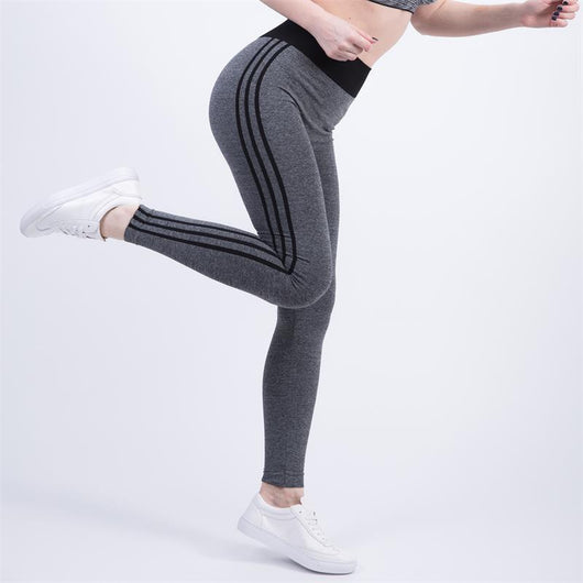 Grey Sports leggings with black Stripes - SD-style-shop